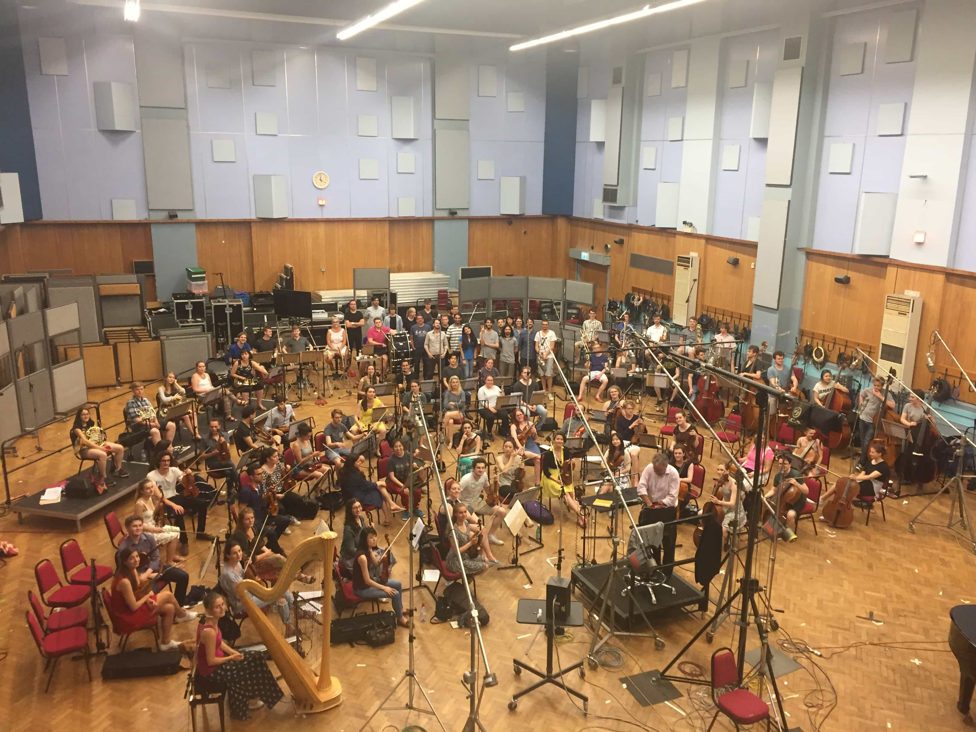 Abbey Road Institute students with the RCM orchestra